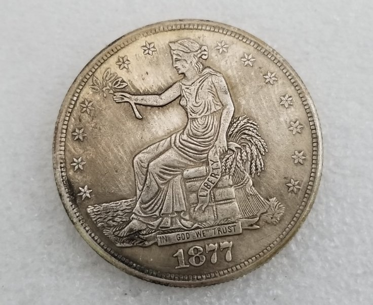 1 Pcs US 1877 Seated Liberty Trade Dollar Copy Coin