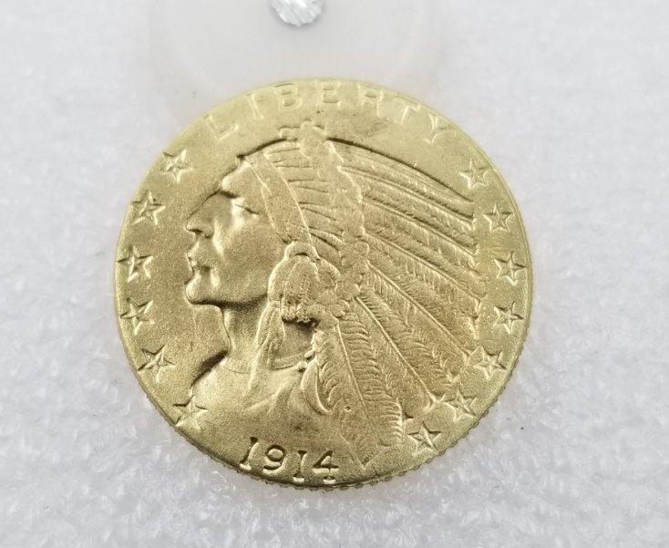 1 Pcs US 1914-D Indian Head Half Eagle Five Dollars Golden Copy Coin