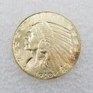 1 Pcs US 1910-S Indian Head Half Eagle Five Dollars Golden Copy Coin
