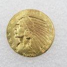 1 Pcs US 1908-S Indian Head Half Eagle Five Dollars Golden Copy Coin
