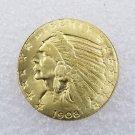 1 Pcs US 1908-D Indian Head Half Eagle Five Dollars Golden Copy Coin