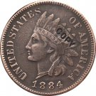1 Pcs 1884 Indian head one cents copy coin for collection