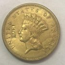 1 Pcs 1863 United States Liberty Head $3 Three Dollar Copy Coin  For Collection