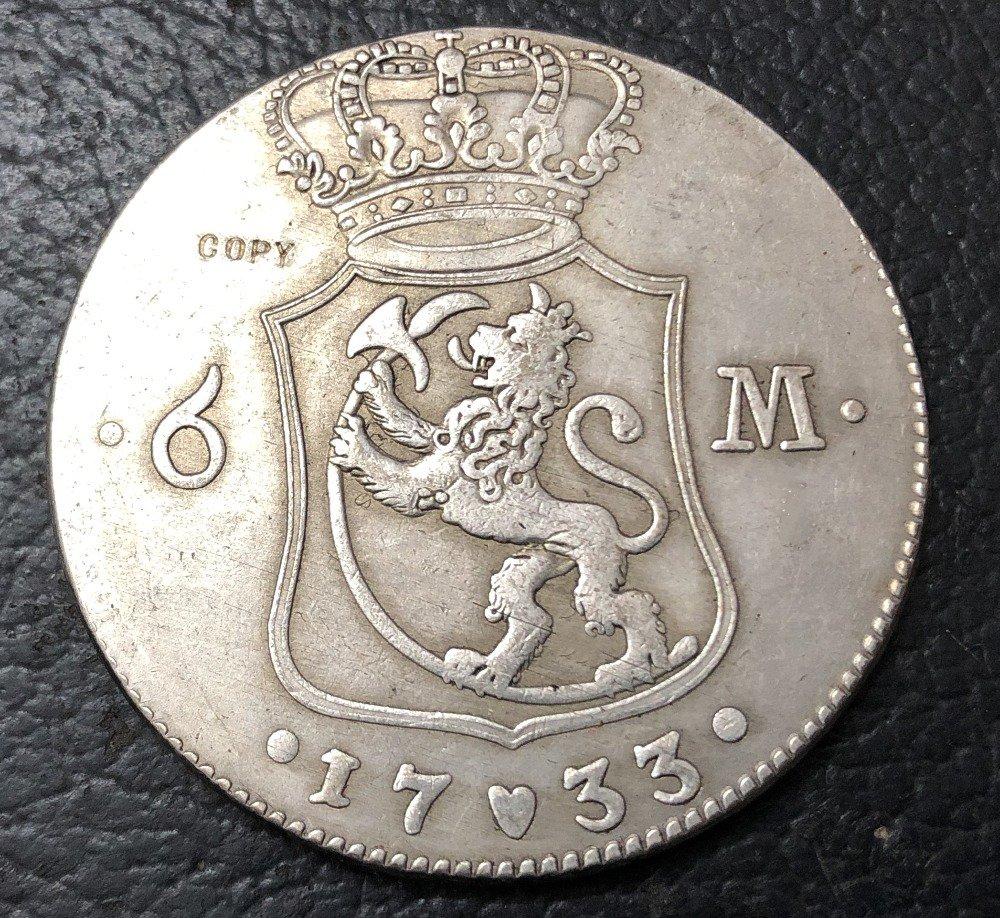 1733 Denmark 6 Mark-Christian VI ( Royal Visit In Norway) Silver Copy Coin
