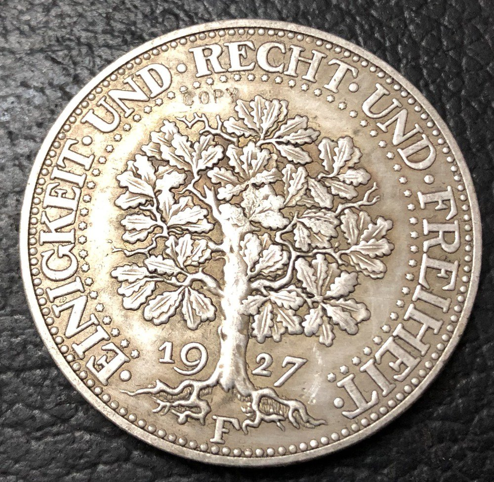 1927-F Germany-1871-1948 5 Reichsmark Silver Plated Copy Coin