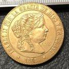 1868 Spain 5 Centimos de Escudo-Isabel II Bronze Copy Coin
