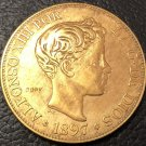 1897 Spain 100 Pesetas-Alfonso XII 3rd Portrait Copy Coin