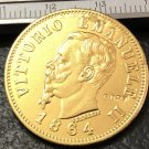 1864 Itlay 50 Lire Gold Copy Coin
