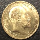 1910 United Kingdom 1 Sovereign -Edward VII .9999 pure Gold Plated Copy Coin