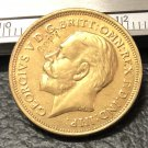 1911 United Kingdom 1 Sovereign -George V .9999 pure Gold Plated Copy Coin