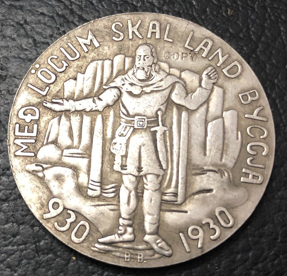 1930 Iceland 5 Kronur Althing Silver Plated Copy Token