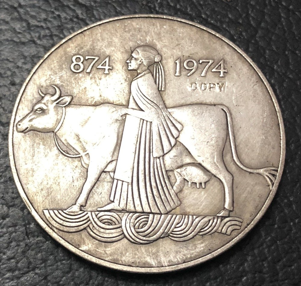 1974 Iceland 1000 Kronur 1st Settlement Silver Plated Copy Coin