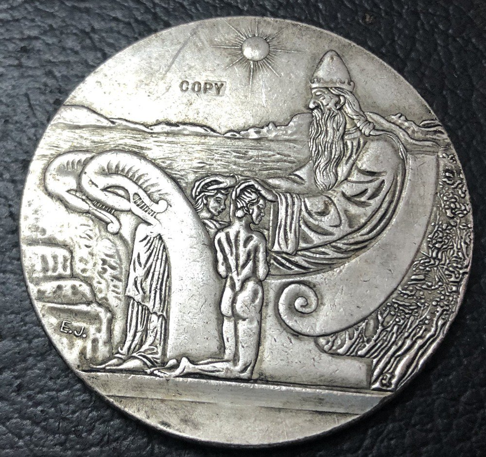 1930 Iceland 10 Kronur Althing Silver Plated Copy Token