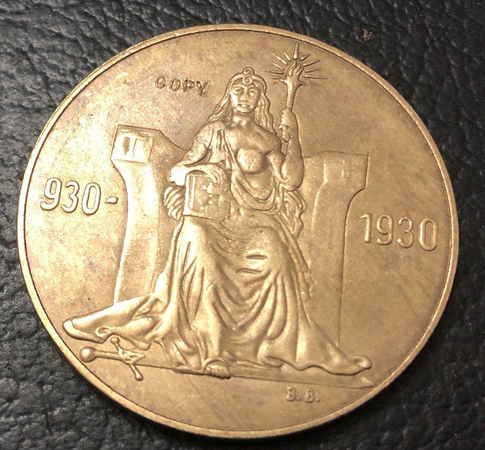 1930 Iceland 2 Kronur Althing Brozen Copy Token