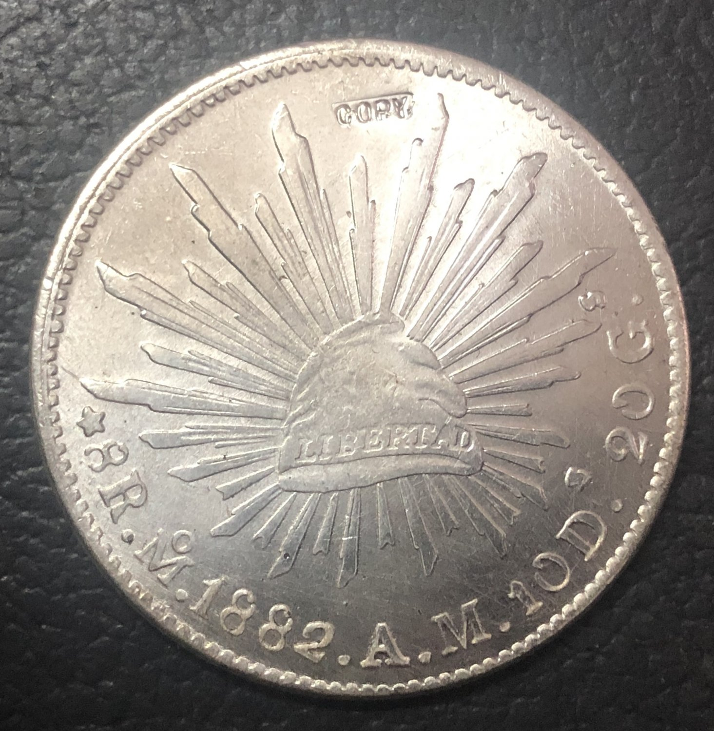 1882 Mexico 8 Reales Silver Plated Copy coin