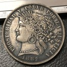 1882 Peru 5 Pesetas Silver plated COPY coin