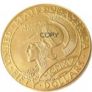 US Fifty Dollars Gold Plated Copy Coin No Stamp