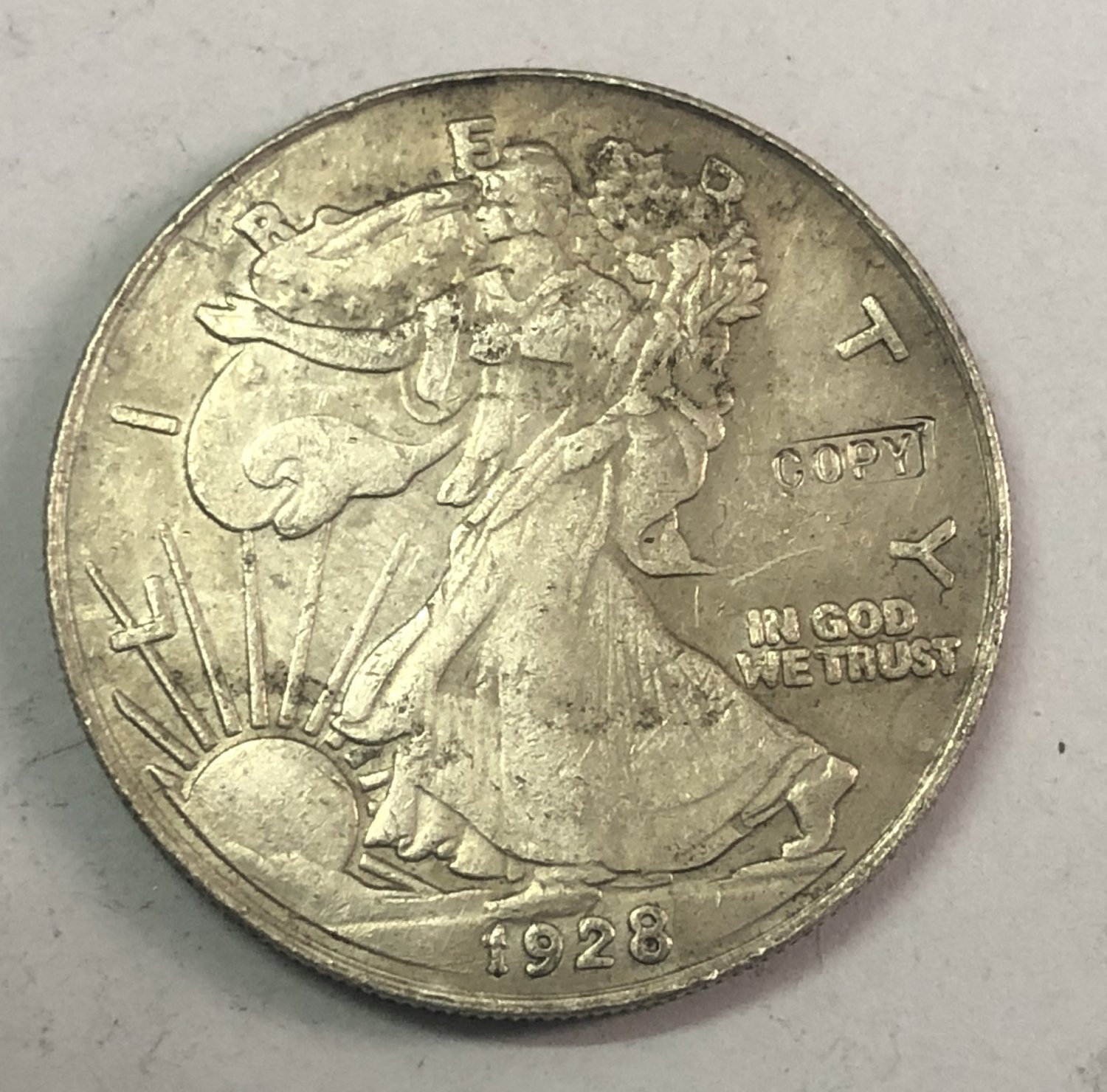 "1928-S United States ½ Dollar ""Walking Liberty Half Dollar"" Copy Coin No Stamp"