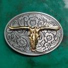 1 Pcs Golden Buffalo Head Cowboy Western Metal Belt Buckle For Men's Luxury Belt