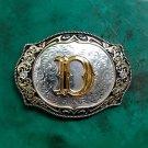 1 Pcs Silver Golden Lace Flower D Letter Cowboy Western Metal Belt Buckle