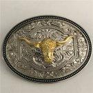 1 Pcs Silver Pattern Golden Bull Head Cowboy Western Metal Belt Buckle