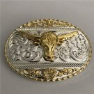 1 Pcs 3D Lace Gold Bull Head Cowboy Western Metal Belt Buckle