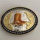 1 Pcs 3D Lace Gold Boots Western Cowboy Metal Belt Buckle