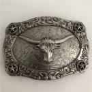 1 Pcs Silver Pattern Bull Head Western Cowboy Metal Belt Buckle