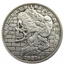 US Hobo 1921 Morgan Dollar Skull Zombie Skeleton Silver Plated Copy Coins No Stamp