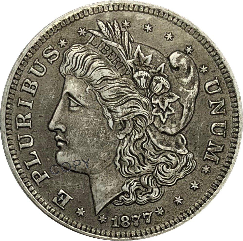 US 1877 50C Morgan Half Dollar Brass Plated Silver Copy Coins