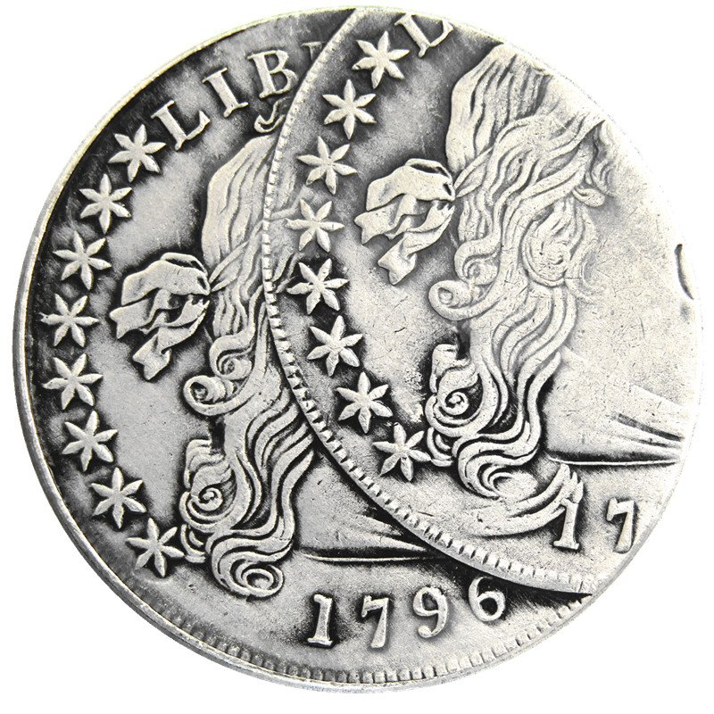 US 1796 Liberty Dollar Two Faces Error Silver Plated Copy Coin