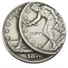 US 1876-CC Trade Dollar Two Faces Error Silver Plated Copy Coin