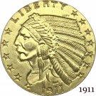 1911 US 2½ Dollars Indian Head Quarter Eagle 2.5 USD Gold Copy Coins