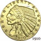 1910 US 2½ Dollars Indian Head Quarter Eagle 2.5 USD Gold Copy Coins