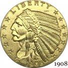 1908 US 2½ Dollars Indian Head Quarter Eagle 2.5 USD Gold Copy Coins