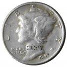 US 1943 Mercury Head Ten Cent Dime Silver Plated Copy Coins