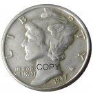 US 1937 Mercury Head Ten Cent Dime Silver Plated Copy Coins