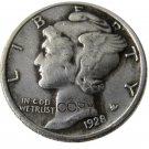 US 1928 Mercury Head Ten Cent Dime Silver Plated Copy Coins