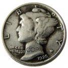 US 1925 Mercury Head Ten Cent Dime Silver Plated Copy Coins