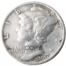 US 1917 Mercury Head Ten Cent Dime Silver Plated Copy Coins