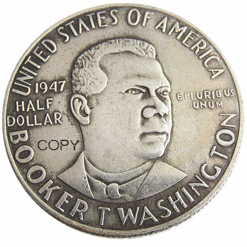 USA 1947 Booker T Washington Half Dollar Silver Plated Copy Coin