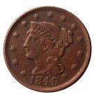 US 1849 Braided Hair One Cent Copy Coin