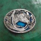 Men's Blue Horse Head Western Cowboy Belt Buckle Boucle De Ceinture