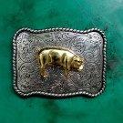 Western Silver Golden Pig Cowboy Belt Buckle For Men