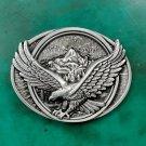 Fashion Men's Oval 3D Silver Fly Eagle Metal Cowboy Belt Buckle