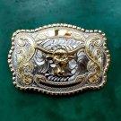 Big Size Lace Flower Gold Bull Head Cowboy Metal Belt Buckle For Men's Jeans Belt Head