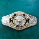 Silver Golden Bull Head Luxury Brand Cowboy Metal Belt Buckle For 4cm Width Belts