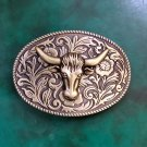 Bronze Flower Pattern Bull Head Men Western Cowboy Cowgirl Belt Buckle