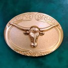 Full Golden Bull Head Western Cowboy Cowgirl Metal Belt Buckle
