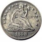 USA 1858 Seated Liberty Quarter Dollars Copy Coins